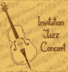 Background of contrabass and music stave vector