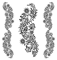 black floral ornament pattern vector image vector image