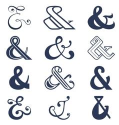 Collection of twelve ampersands sign designs vector image
