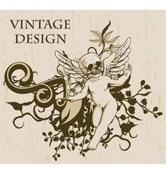 grunge floral background with angel vector image vector image