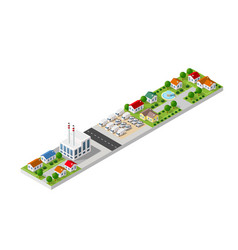 isometric landscape of a small town vector image
