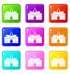 Residential mansion with towers icons 9 set vector