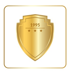 shield emblem gold white vector image