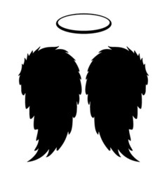 Silhouette Black Angel Wings Feathers and Halo vector image