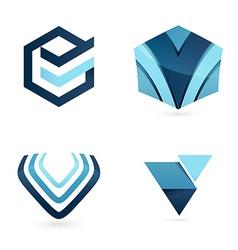 V letter logo set vector image