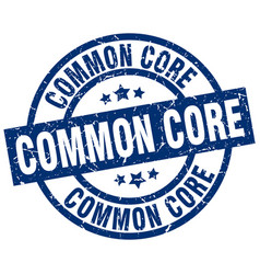 Common core blue round grunge stamp vector