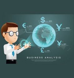 currency businessman analysis vector image vector image