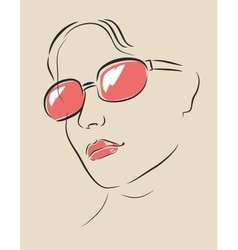 face in glasses vector image vector image