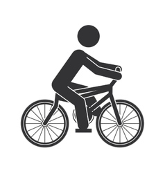 monochrome silhouette of man in bicycle vector image