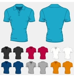 Set of colored polo-shirts templates for men vector image vector image