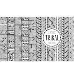 set of six ethnic seamless patterns tribal vector image vector image