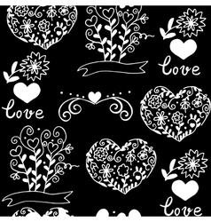 pattern with hearts flowers and other elemets vector image vector image