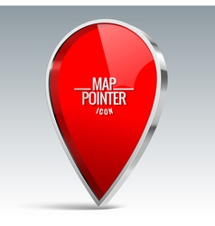 Shiny gloss red Map pointer icon vector image vector image