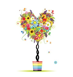 Summer floral tree heart shape in pot vector image vector image