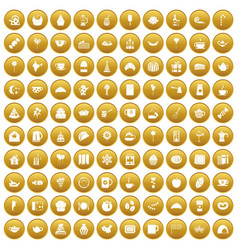 100 tea party icons set gold vector image