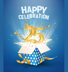 25 th years anniversary and open gift box vector