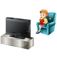 A child watching TV vector image