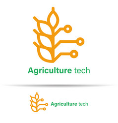 Agriculture technology logo template design on vector