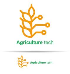 Agriculture technology logo template design vector