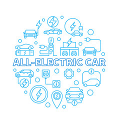 all-electric car round in vector image