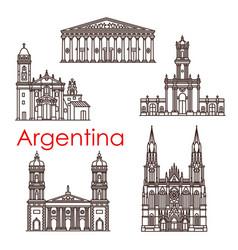 Argentina landmarks architecture line icons vector