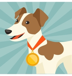 Background with dog champion winning gold medal vector