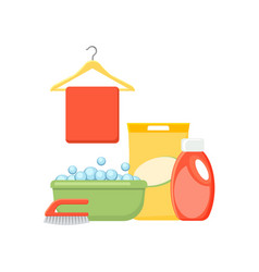 basin bubbles detergents cloth and brush vector image