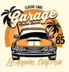 Beach shirt design classic american muscle car vector