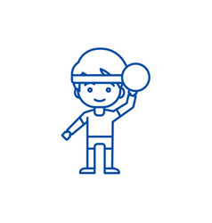 boy playing with ball line icon concept boy vector image