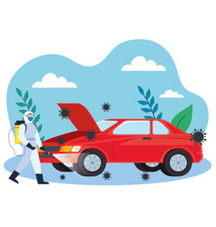 Car disinfection service prevention coronavirus vector