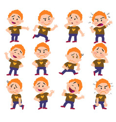 Cartoon character white red hair boy set vector