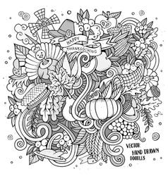 Cartoon hand drawn Doodle Thanksgiving vector