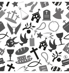 christianity religion symbols grayscale seamless vector image
