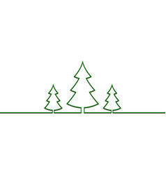 christmas trees one line drawn new year vector image