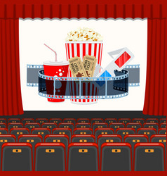 Cinema auditorium with seats and popcorn vector