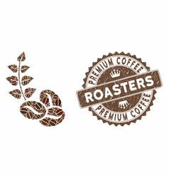 Coffee mosaic organic coffee beans with grunge vector
