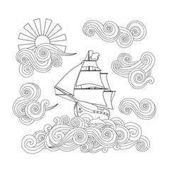 Contour image ship on wave cloud sun in vector