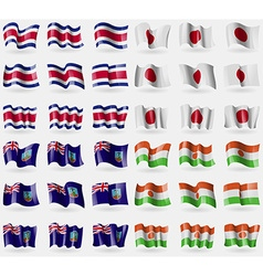Costa Rica Japan Montserrat Niger Set of 36 flags vector