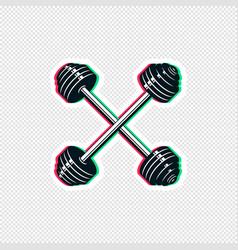 Crossed barbell sticker design vector