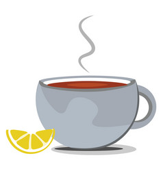 cup tea on white background vector image