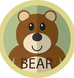 Cute brown bear cartoon flat icon avatar round vector