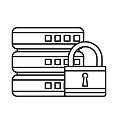 Database with padlock icon outline style vector image