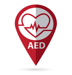 Defibrillator symbol with location icon vector