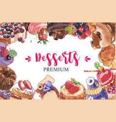 Dessert frame design with cupcake berries tart vector