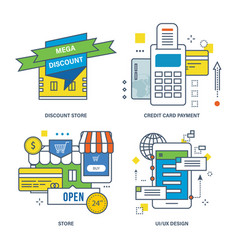 Discount store credit card payment store vector