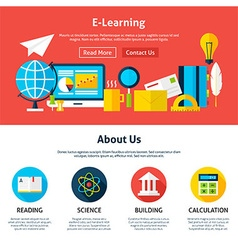 Electronic Learning Flat Web Design Template vector