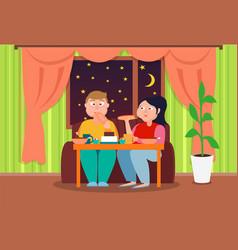 Fat pair eating at deep night colorful banner vector