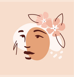 Female face and oleander vector