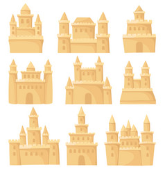 Flat set of different sand castles vector