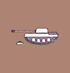 Flat shading style icon military tank and mine vector